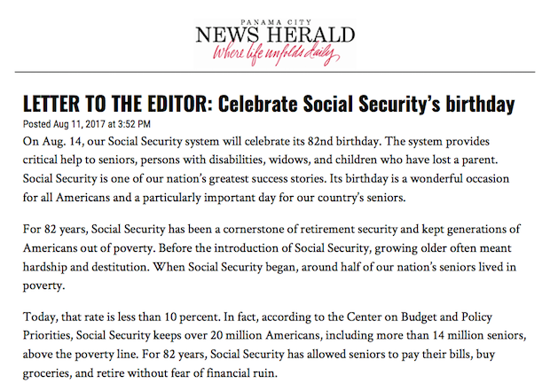 Social Security Letter Of Benefits.Panama City News Herald Letter To The Editor Celebrate