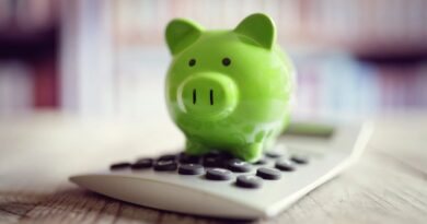 A green piggy bank on top of a calculator