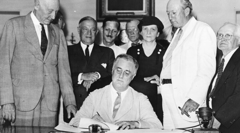 FDR signing the Social Security Act
