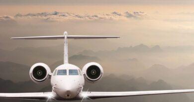 An airplane mid-flight