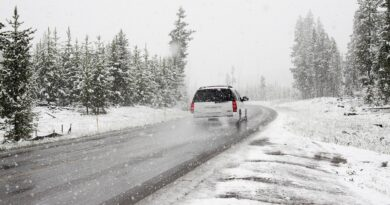 SUV driving in snow