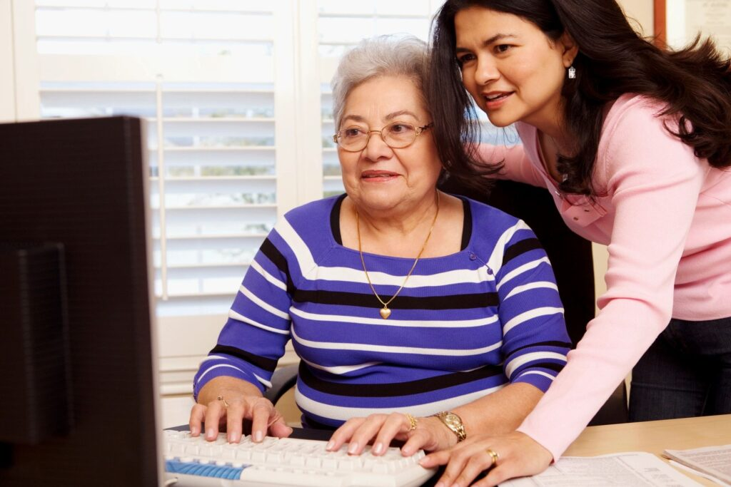 two women at computer