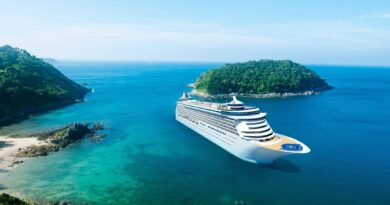 cruise ship by small islands
