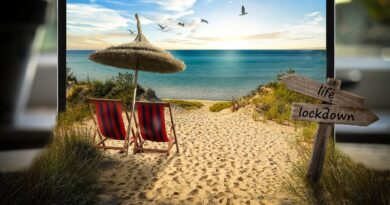 beach scene on tablet screen
