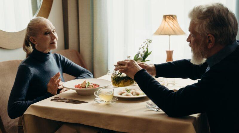older couple eating at restaurant